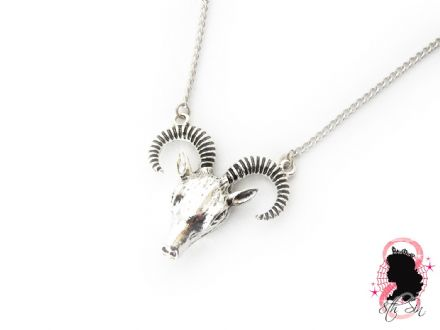 Antique Silver Ram Skull Necklace
